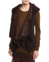 Urban Zen - Hooded Suede & Shearling Vest - Lyst