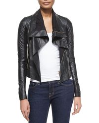 Rick Owens | Shawl-Collar Leather Biker Jacket | Lyst