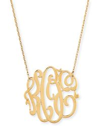 Jennifer Zeuner - 18k Gold Vermeil Medium 3-letter Monogram Necklace - Lyst