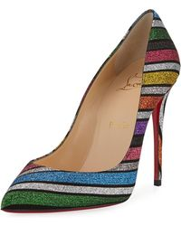 5767f051c512 Lyst - Christian Louboutin Follies Strass Mixed Red Sole Flats in ...
