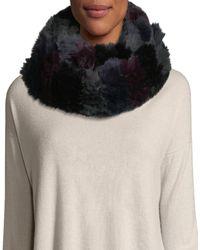 Jocelyn - Horizontal Stripe Knitted Fur Infinity Scarf - Lyst