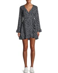 DL1961 - Ainsley Long-sleeve Polka-dot Mini Wrap Dress - Lyst