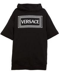Versace - Hooded Sweatshirt Logo Dress - Lyst