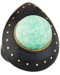 Ashley Pittman - Mageuzi Teardrop Dark Horn & Turquoise Ring - Lyst