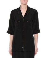 Stella McCartney - Short-sleeve Button-front Silk Pajama Top - Lyst