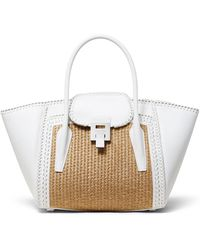 b0ecb65d50a3 Michael Kors - Straw And Leather Medium Satchel Bag - Lyst