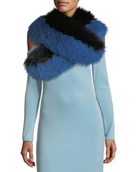 Alice + Olivia - Oversized Fox-fur Collar - Lyst