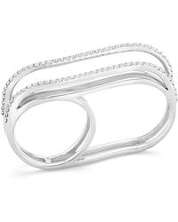 Paige Novick - White Diamond Double-finger Ring - Lyst