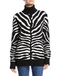 Michael Kors - Zebra-intarsia Cashmere Turtleneck Sweater - Lyst