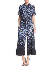Lela Rose - Short-sleeve Floral-print Jumpsuit - Lyst