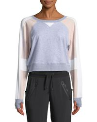 BLANC NOIR - Flashback Colorblock Cropped Sweatshirt - Lyst