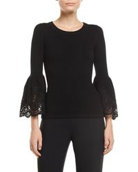 Michael Kors - Lace Bell-sleeve Cashmere Pullover Sweater - Lyst