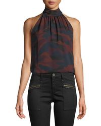 Joie - Erola B Sleeveless Camo-print Silk Top - Lyst