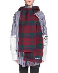 Balenciaga - Tartan Hooded Wool Scarf - Lyst