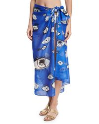 Anna Coroneo - Cotton Voile Eye Scarf - Lyst