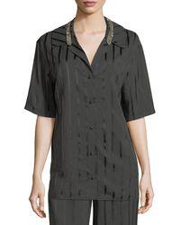 Alexander Wang - Striped Short-sleeve Pajama Shirt - Lyst