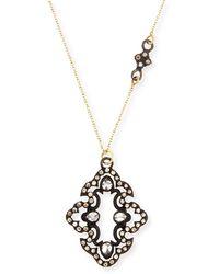 Armenta Champagne Diamond Scroll Pendant Necklace - Metallic
