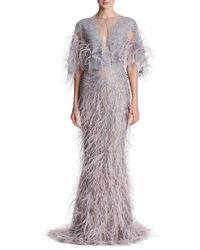Marchesa - Sleeveless Plunging Fully Beaded & Ostrich Feather Evening Gown - Lyst