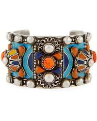 Saint Laurent - Marrakech Enameled Wide Cuff Bracelet - Lyst