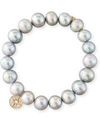 Sydney Evan - 10mm Potato Pearl Beaded Bracelet With Diamond Starburst Charm - Lyst