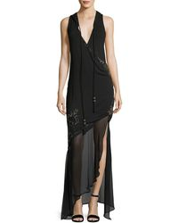 Haute Hippie - King Of Salem Sleeveless Silk Chiffon Dress With Beaded Embellishments - Lyst