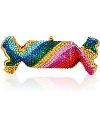 Judith Leiber - Rainbow Twist Crystal Candy Pillbox - Lyst