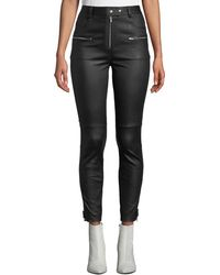 7 For All Mankind - High-rise Fitted Leather Biker Pants - Lyst