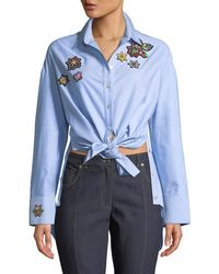 Cinq À Sept - Arleigh Embroidered Button-front Top - Lyst