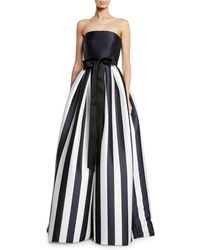 Monique Lhuillier - Strapless Striped Satin Ball Gown - Lyst