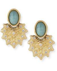 Armenta - Old World 18k Starburst Aquaprase Stud Earrings - Lyst