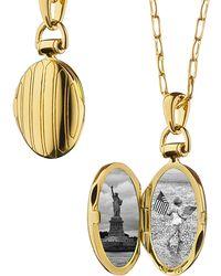 Monica Rich Kosann | 18k Gold Petite Pinstripe Locket | Lyst