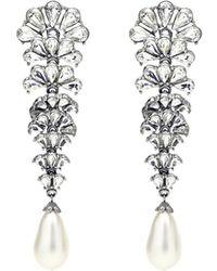 Ben-Amun - Crystal Fan Earrings W/ Pearly Teardrop - Lyst