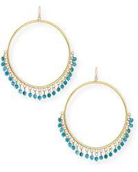 Ashley Pittman - Mnara Bronze Hoop Earrings W/ Turquoise Dangles - Lyst