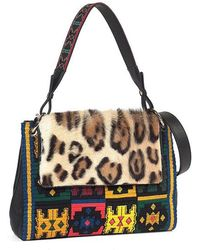 Etro - Leopard-print Fur-flap Embroidered Shoulder Bag - Lyst