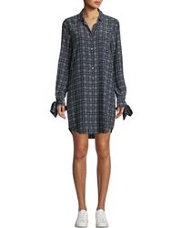 Equipment - Manning Button-front Long-sleeve Floral-print Plaid Shirtdress - Lyst