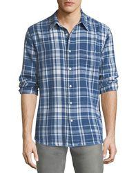 FRAME - Frayed-hem Plaid Shirt - Lyst