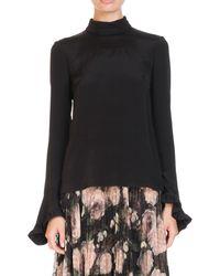 Erdem - Lindsey High-neck Ruffled Bell-sleeve Silk Blouse - Lyst