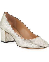 fc88ed6ed71 Chloé - Lauren 50mm Scalloped Metallic Leather Block-heel Pumps - Lyst