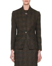Agnona - One-button Fitted Alpaca-blend Tweed Check Jacket - Lyst