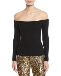 Michael Kors - Off-the-shoulder Long-sleeve Ribbed Top - Lyst