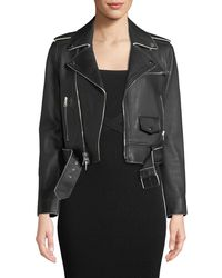Theory - Shrunken Lamb Leather Moto Jacket W/ Painted Edge - Lyst