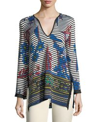 Etro | Striped Orchid Knit Pullover Sweater | Lyst