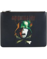 Givenchy - Army Skull Large Leather Pouch Clutch Bag  - Lyst