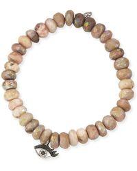 Sydney Evan - Beaded Pink Opal Bracelet With Diamond Eyelash Charm - Lyst