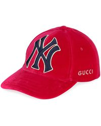 faadf801966 Lyst - Gucci New York Yankees Embroidered Baseball Cap in Red