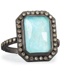 Armenta - Old World Midnight Turquoise & Quartz Doublet Ring With Champagne Diamonds - Lyst