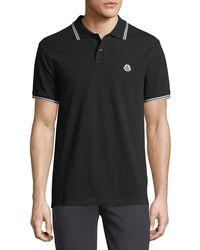 Moncler - Classic Pique Patch Polo Shirt - Lyst