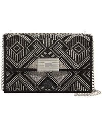Ralph Lauren - Geometric Beaded Suede Chain Shoulder Bag - Lyst