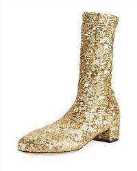 Dolce & Gabbana - Sequined High 30mm Bootie - Lyst