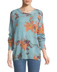 Etro - Metallic Floral Crewneck Boyfriend Sweater - Lyst